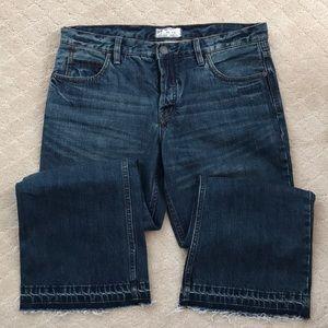 NWOT Free People cropped blue boyfriend jeans